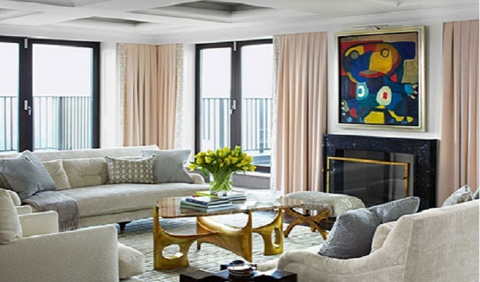 Stunning design in a NY apartment by Phoebe and James Howard Stunning design in a NY apartment by Phoebe and James Howard 04 hbx brass and onyx coffee table howard 1113 lgn1
