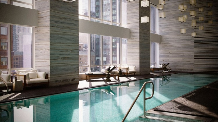 NYC Luxury Hotels, boutiques, luxurious hotels, city guide, covet new york, design, interior design, lifestyle, luxury city guide, luxury decor, luxury design, new york, new York city, nyc, architecture, guide, lifestyle, living guide, luxury design, luxury guide, luxury hotels, luxury projects, luxury restaurants, luxury showrooms, luxury stores, new york, new york city, new york city luxury guide, nyc, top interior designers, travel, hotels, restaurants, luxury restaurants, Luxury Lifestyle Living Guide, relax nyc luxury hotels Luxury Lifestyle Living Guide #1: NYC Luxury Hotels and Restaurants new york 2017 wellness pool dusk 02