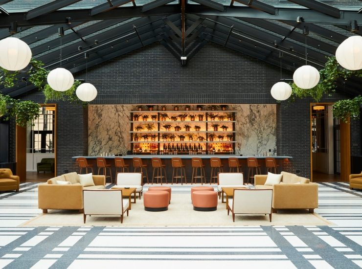 gachot studios GACHOT STUDIOS: CREATE BEAUTIFUL INTERIOR DESIGN AT SHINOLA HOTEL Shinola Annex Birdy Room 001 740x550  Deco NY | Home Design Guide Shinola Annex Birdy Room 001 740x550