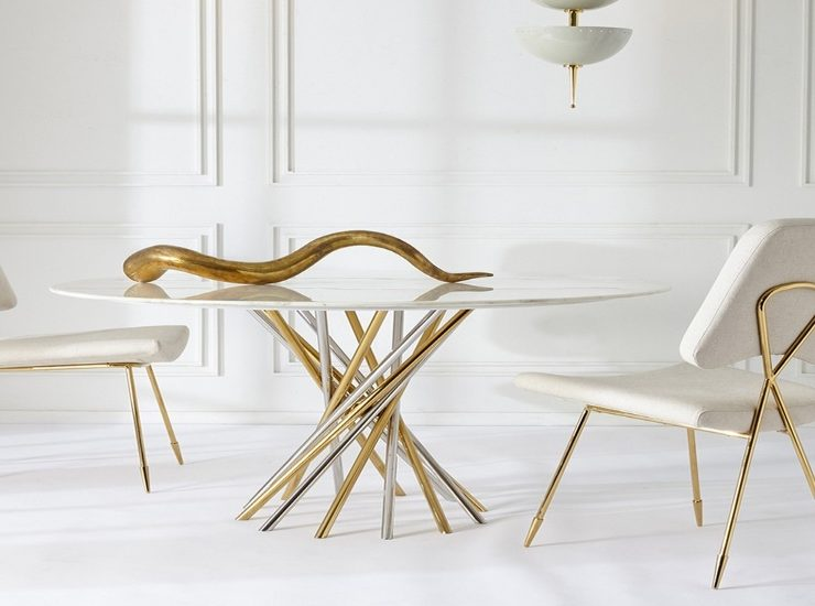 jonathan adler MODERN DINING TABLE BY JONATHAN ADLER electrum candelabra 740x550  Deco NY | Home Design Guide electrum candelabra 740x550